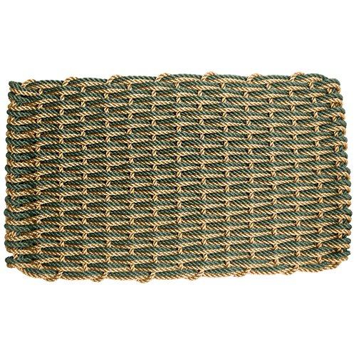 ColorWave Nautical Rope Doormat, Handwoven Dual Weave Reversible Welcome Mat, Bronze and Evergreen, 18 x 30