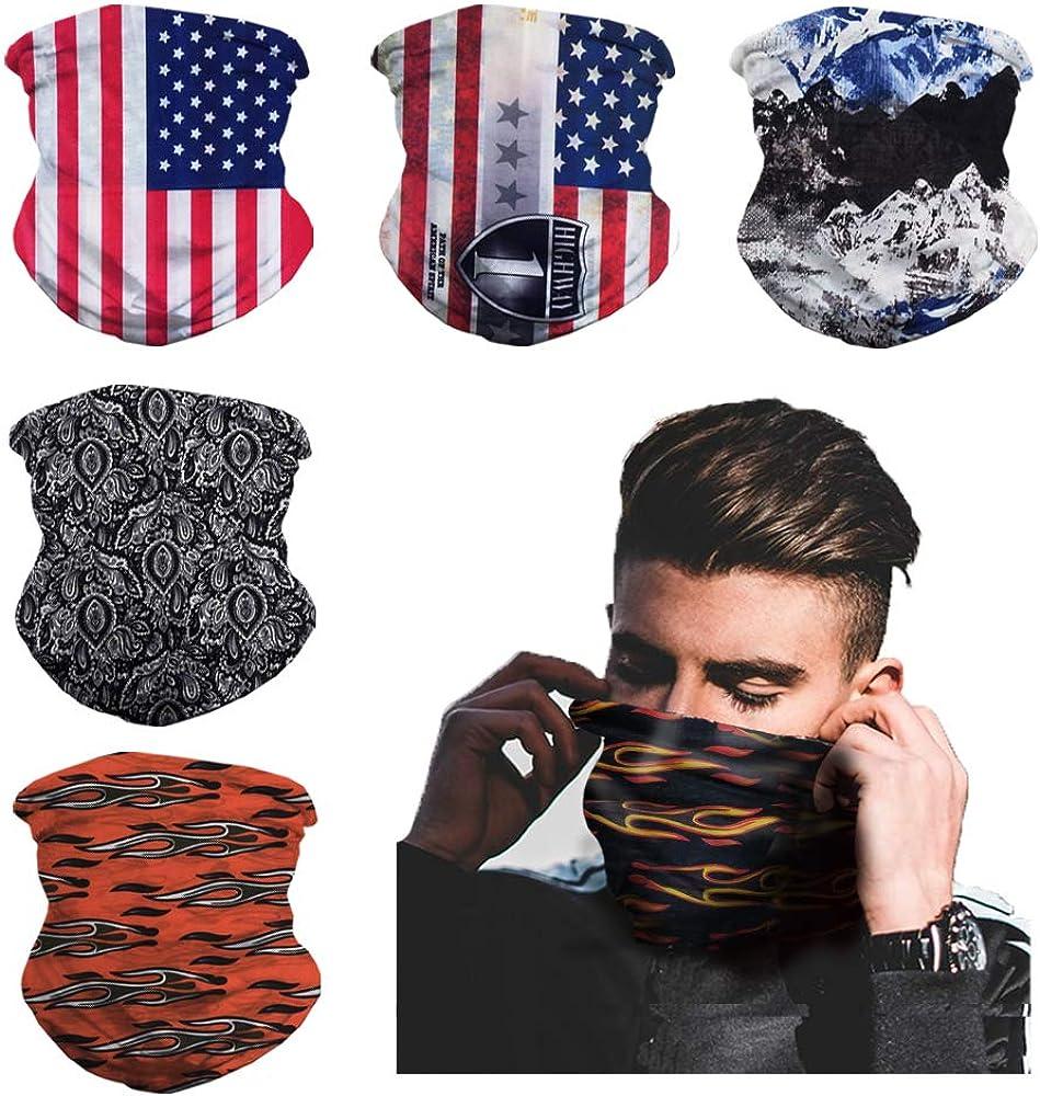 Kacniohen Seamless Sports Scarf 6pcs Elastic Sport Headband Sweat Absorb Cycling Face Mask Multipurpose Headwear