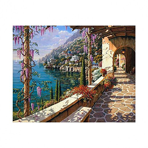 5D Diamond Picture, Vmree DIY Rhinestone Embroidery Painting Crystals Pasted Handcraft Cross Stitch Handiwork Kits Visual Arts for Home Decor (Mediterranean Scenery, 25x30 cm)