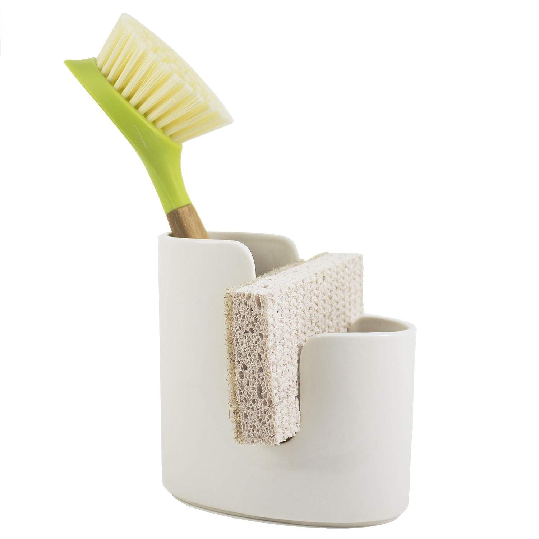 Scarlettwares Kitchen Caddy Ceramic Holds One Sponge and Scrub Brush Kitchen Sink Organizer