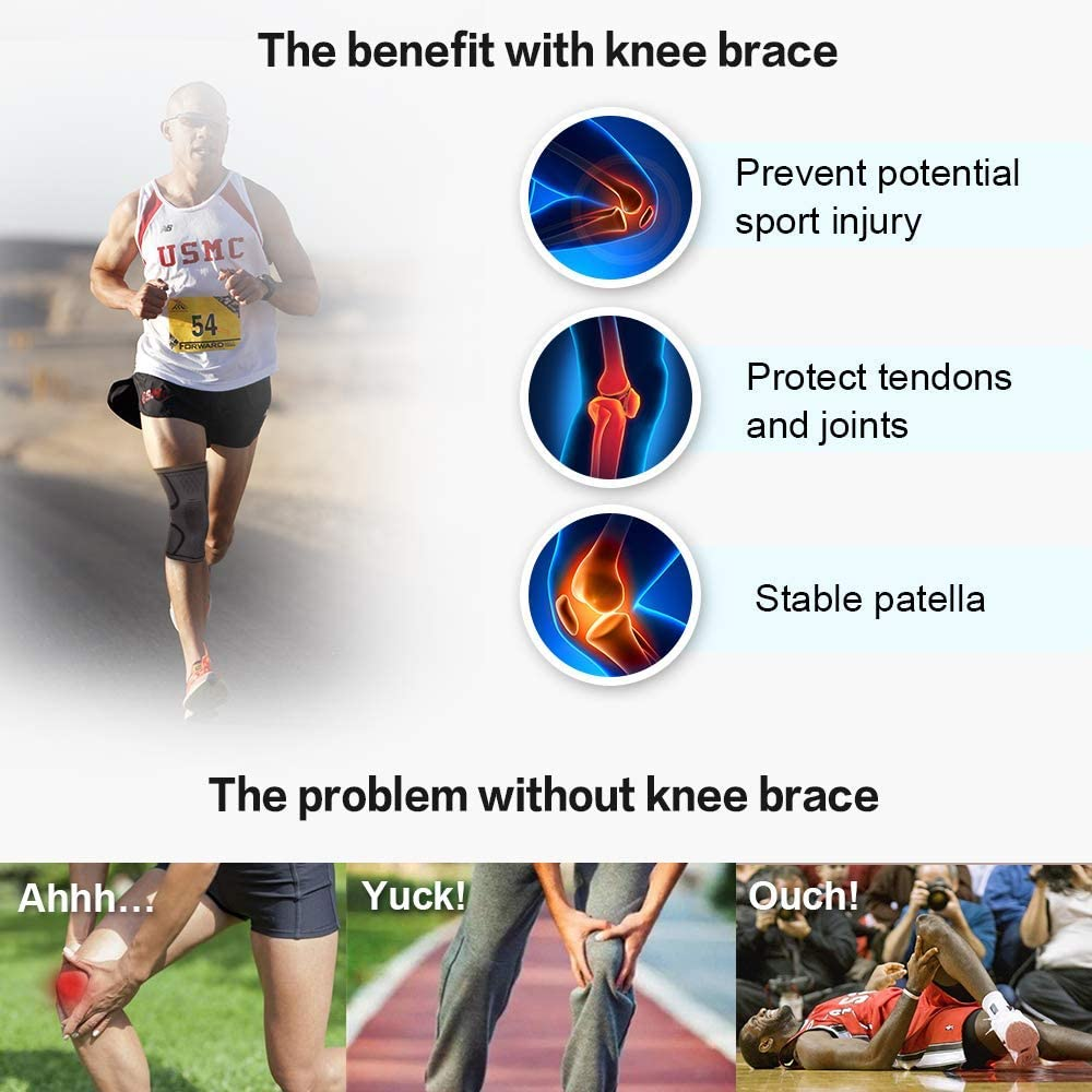 Arthritis Compression Knee Sleeve,LezGo Breathable Non-slip Elastic Knee Support Sleeve,3D Weaving Knee Brace for Running,Sports,Working out Injury Recovery Meniscus Tear,Pain Relief