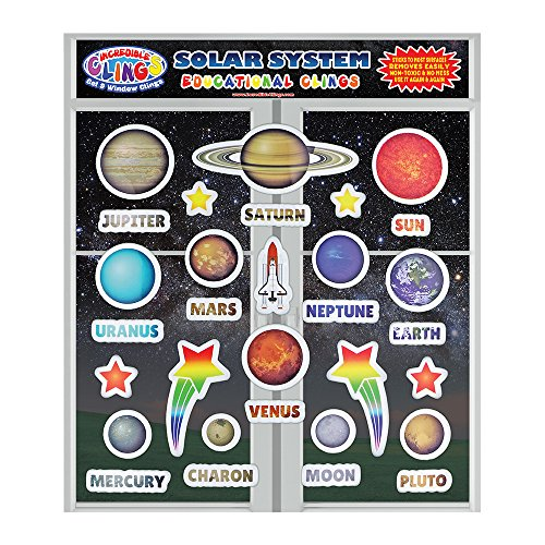 Solar System Window and Wall Clings - Reusable Outer Space, Planet, Galaxy, Moon and Star Puffy Stickers for Kids and Toddlers – Unique Designs for Rooms, Planes, Classrooms and More