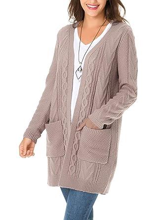 ClasiChic Cardigan Femme Long en Maille,Grande Taille Gilet Torsadé à  Manches Longues,Mode 424f5a3128fb