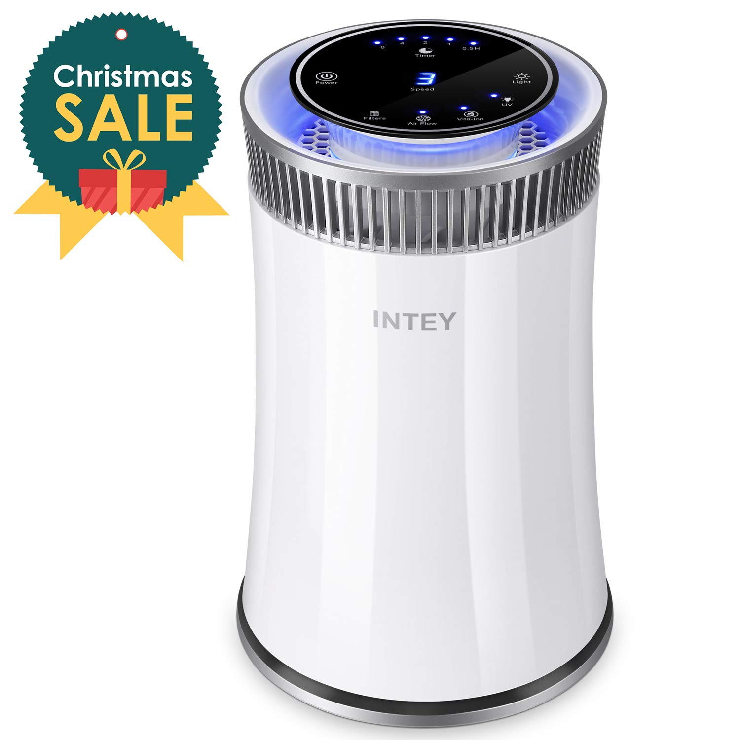 INTEY Hepa Air Purifier - No Ozone,True HEPA &Active Carbon Filters, 8H Timer, Air Purifiers for Allergies/Smoke - Removes 99.97% Dust, Pollen, Pet Dander (322 sq.ft/ 30 m² , CADR Rated 140+) Pet Dander (322 sq.ft/ 30 m²