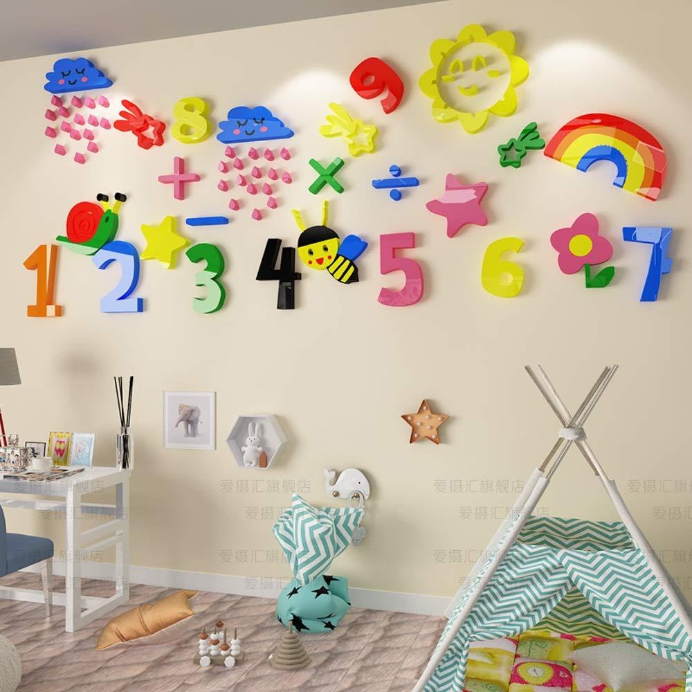 Uioy Etiqueta engomada de Pared la Pared de 3D de la Sala de Clase 3D de los niños de la Historieta de los niños de Digitaces (Color, Tamaño : Oversized) 699c42