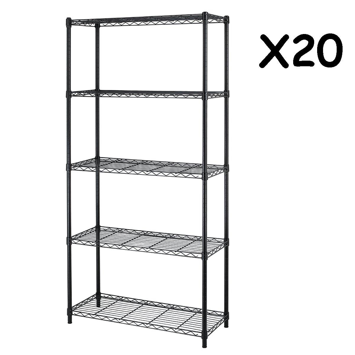 5-Shelf Steel Wire Tier Layer Shelving 72''x36''x14'' Storage Rack,Black,50 pcs