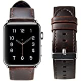 RUOQINI For Apple Watch Band 42MM 38MM, Genuine Leather Strap Retro Style Replacement Band for Apple Watch Series 3, Seires 2, Series 1