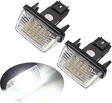Gzcrdz 2 Stücke 12 V Led Nummer Kennzeichenbeleuchtung Lampen Für 206 207 306 307 308 406 407 5008 C3 C3 Ii C3 C4 C5 Weiß Auto