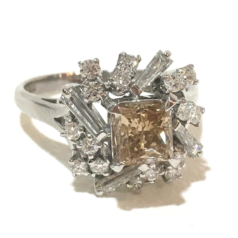 (リサイクルジュエリー) JEWELRY ブラウンダイヤ メレダイヤ pt900 リング リング指輪 Pt900/ダイヤモンド レディース 新品同様 中古 B07F73GS6P
