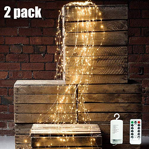 Cynzia 2Pcs Waterproof Waterfall String Lights Decorative Twinkle Starry Lights,8 Modes with 10 Strands 250 LEDs Battery Operated Branch Lights with Remote Timer for Garden Outdoor (Small Tree That Looks Like A Weeping Willow)