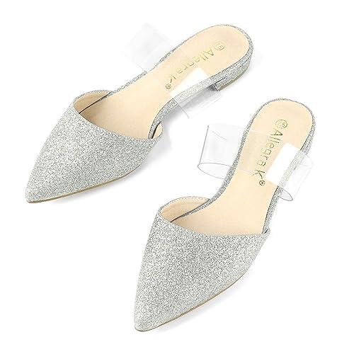 664d10ad331 Allegra K Women s Glitter Clear Ankle Strap Silver Flat Mule Slides - 5 ...