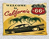 Ambesonne 1960s Decor Tapestry, Retro Welcome to California Advertising Seat of Hollywood in Pop Art Style Neo Print, Wall Hanging for Bedroom Living Room Dorm, 60 X 40 Inches, Red Emerald