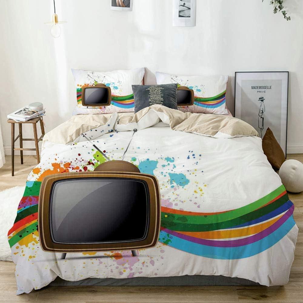 Juego de Funda nórdica Beige, televisor Antiguo con líneas onduladas de Colores Salpicaduras de Color Comunicación de Medios, Juego de Cama Decorativo de 3 Piezas con 2 Fundas de Almohada: Amazon.es: Hogar