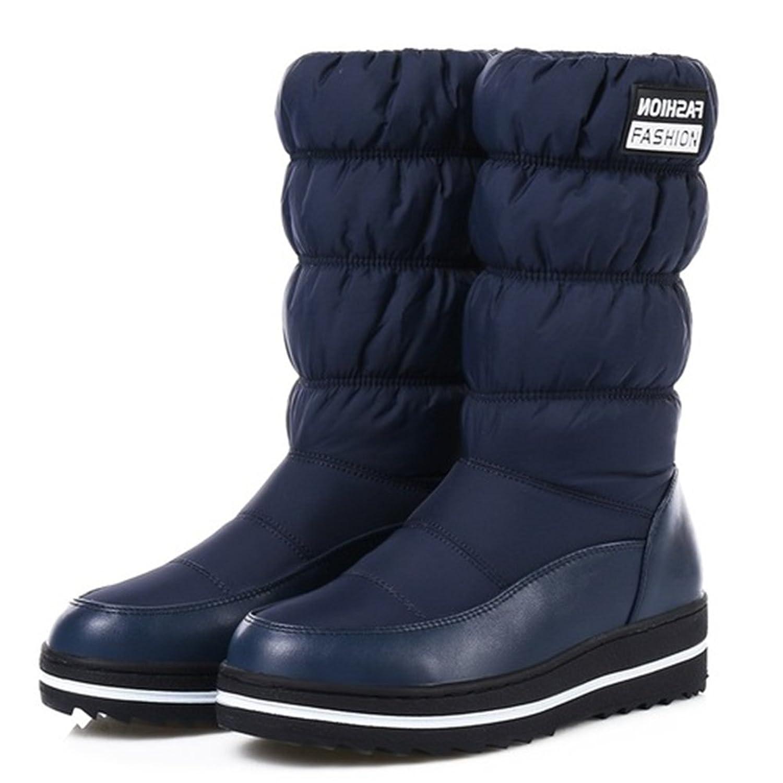 AARDIMI Plus Größe 35-44 Neue Schnee Stiefel Frauen Warme Baumwolle Down Schuhe Wasserdichte Stiefel Pelz Plattform Mid Calf Stiefel Schwarz (39, Blau)