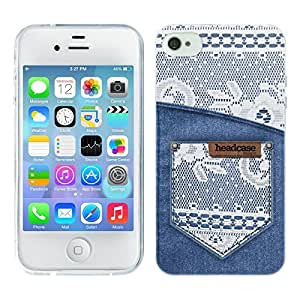 Head Case Designs White Lace On Denim Pocket Jeans and Laces Soft Gel Back Case Cover for Apple iPhone 4 4S
