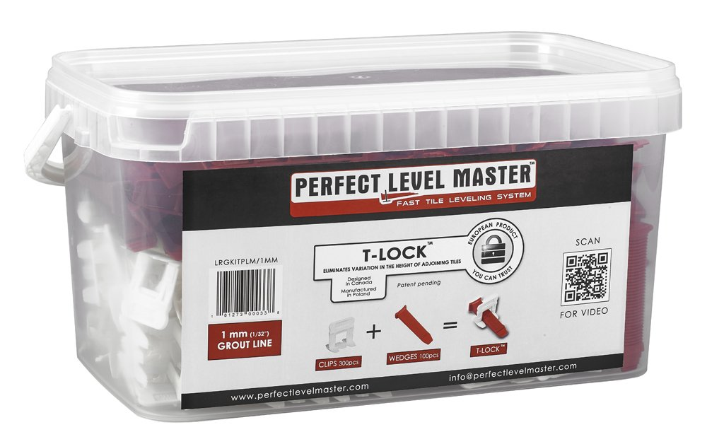 1/32'' T-Lock ™ Complete KIT Anti lippage Tile leveling system by PERFECT LEVEL MASTER ™ 300 spacers & 100 wedges in handy bucket ! Tlock