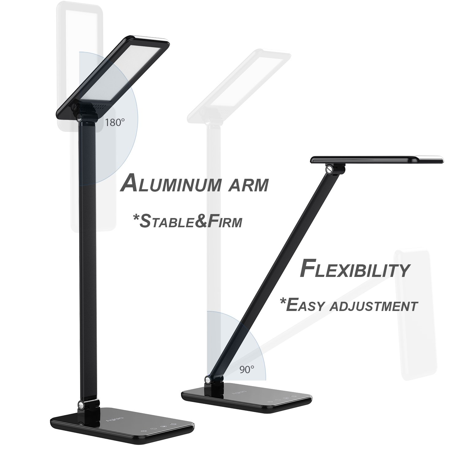 LED Desk Lamp 8W, Aglaia Eye-Caring Table Lamps with Dimmable Touch Control, Stepless Brightness Levels and Lighting Modes, Aluminum Alloy ARM, 1-Hour Auto Timer, Memory Function by Aglaia (Image #5)