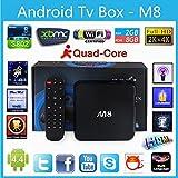 J-Deal® M8 TV Box Quad Core Android 4.4 Smart Set Top TV Box XBMC 3D Blu-ray 4K Streaming Media Player Miracast DLNA Receiver Amlogic S802 AML8726-M8 Cortex A9@ 2GHz 2GB Ram 8GB Rom Mali450 GPU 4K HDMI 2.4G/5G Dual WiFi Ultra HD Mini PC