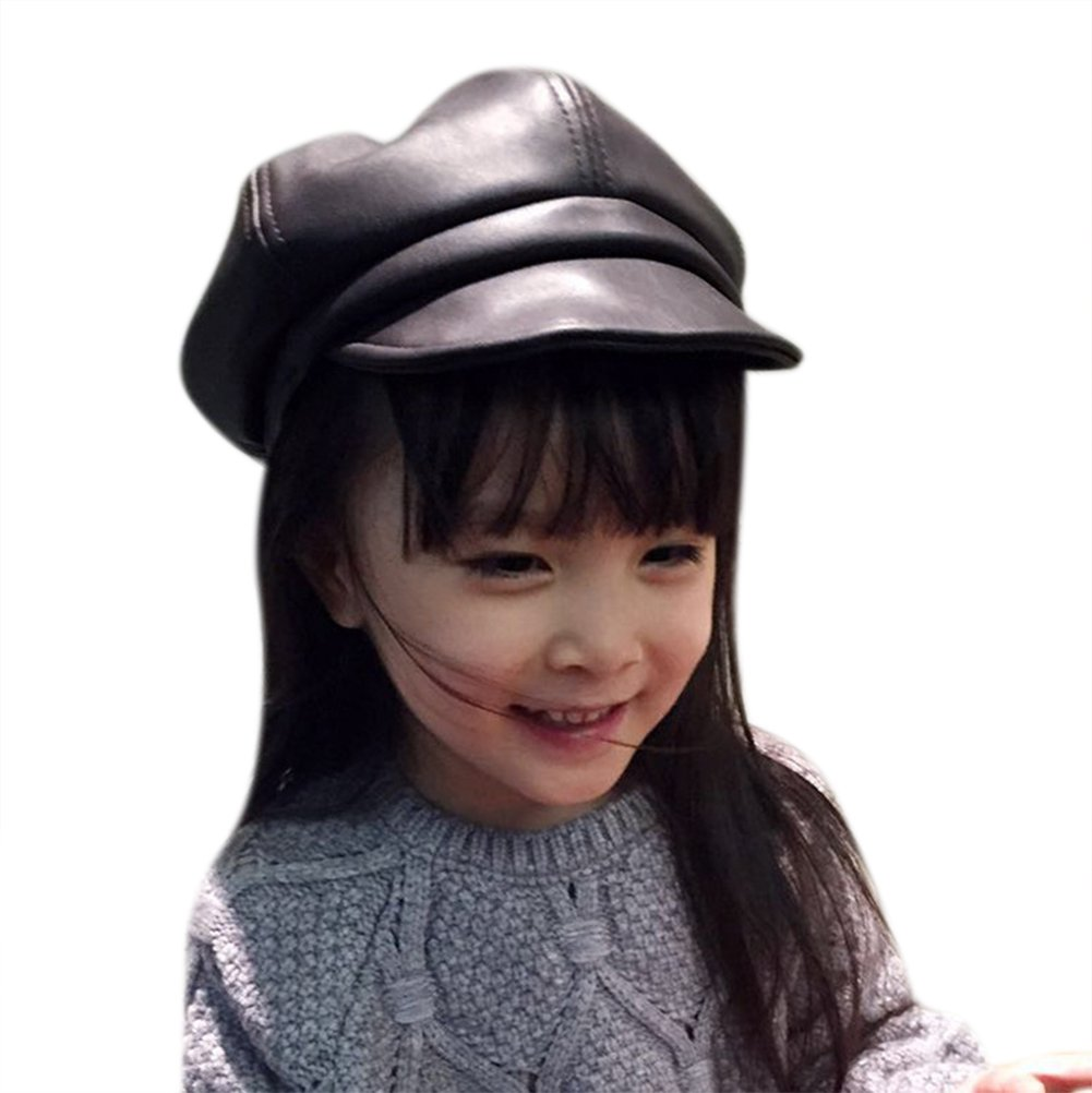 BabyPrice (4-8Y) Kids Boys & Girls Winter PU Leather 8 panel Newsboy Cabbie Hat Beret Cap
