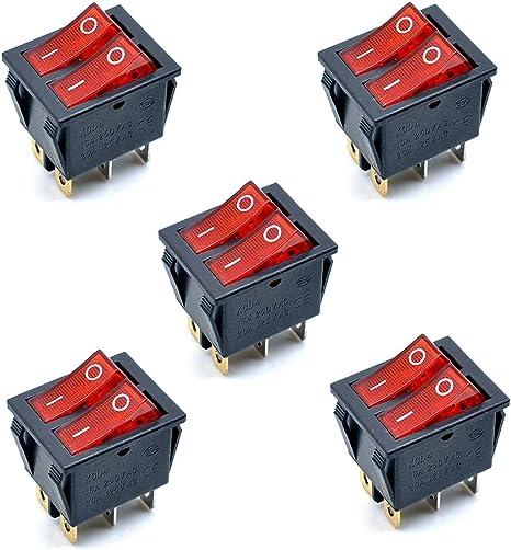 con luz roja Heschen Doble interruptor basculante SPST encendido-apagado pack de dos 16/A 250/VAC con 6/Terminales