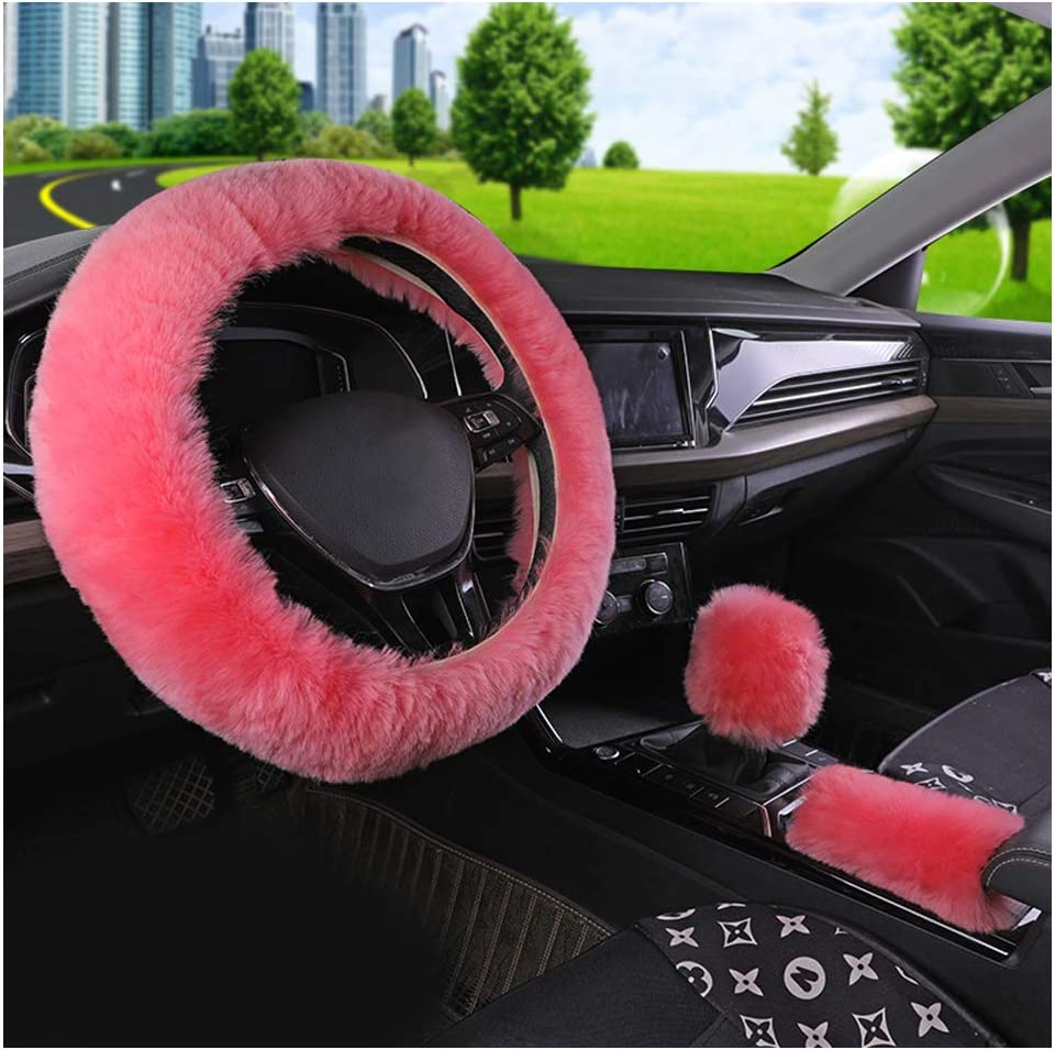 Younglingn Auto Steering Wheel Short Wool Cover Gear Shift Handbrake Fuzzy Cover 1 Set 3 Pcs Multi-Colored with Winter Warm Fashion for Girl Women Ladies Universal Fit Most Car Pink