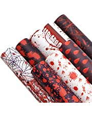 """Halloween Faux Leather Sheets LOOGOOL 8Pcs 8""""x13"""" Halloween Theme Black White and Red Horror Blood Design Perfect for Earring Bows Crafts Making"""