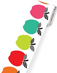 Schoolgirl Style Black, White and Stylish Brights Rolled Apple Border—Rolled Border With Red Apples for Bulletin Boards, Desks, Lockers, Homeschool or Classroom Decor (36 ft) (108446)