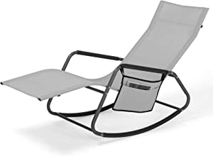 Zero Gravity Patio Lounge Chair with Magazine Bag,Comfortable Curved Ergonomic Reclining Patio Chair,265 pounds,All Weather Outdoor Recliner for Patio,Beach,Yard,Pool(Light Gray)