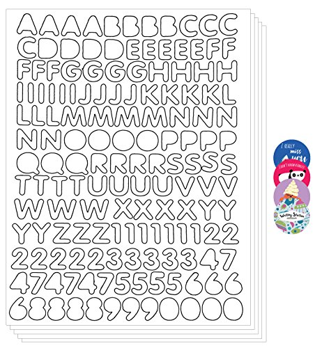 Primary Alphabet Letters Numbers Stickers Peel Decorative Label (Pack of 5 sheets, White)