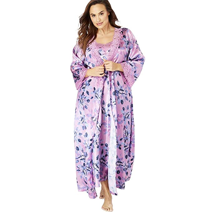 32671e0b91d Amoureuse Women s Plus Size The Luxe Satin Long Peignoir Set - Light Orchid  Flowers