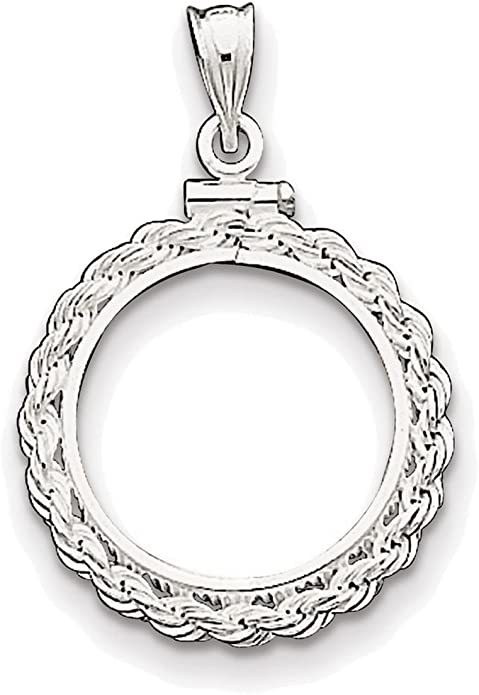 925 Sterling Silver 30.5 x 2.1mm $0.50 Rope Coin Bezel Charm Pendant