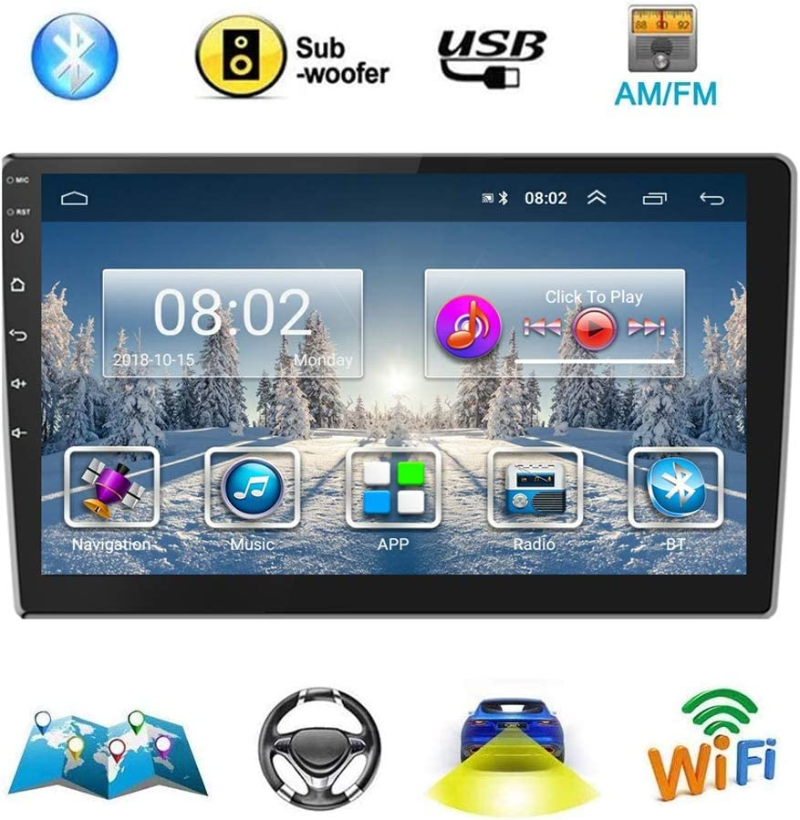 Double Din Car Stereo FM/AM/SUB Android(1+16G) Navigation Stereo 9'' Touch Screen Car Radio with Bluetooth Indash Head Unit Support WiFi/Mirror Link/Backup Camera/DVR/USB/SWC Car Multimedia Player