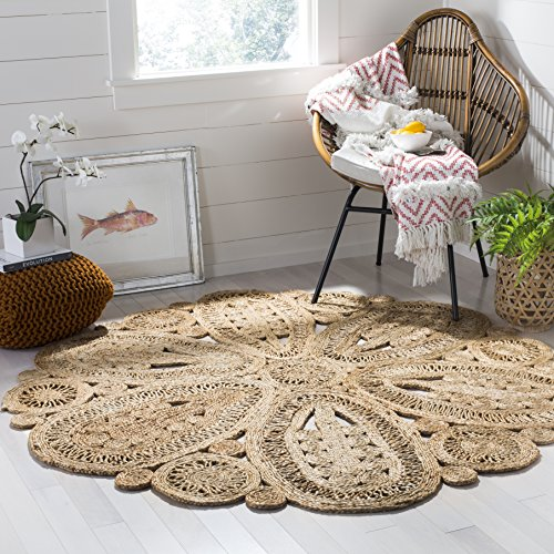 Safavieh Natural Fiber Collection NF360A Hand-Woven Natural Jute Round Area Rug (4' in ()