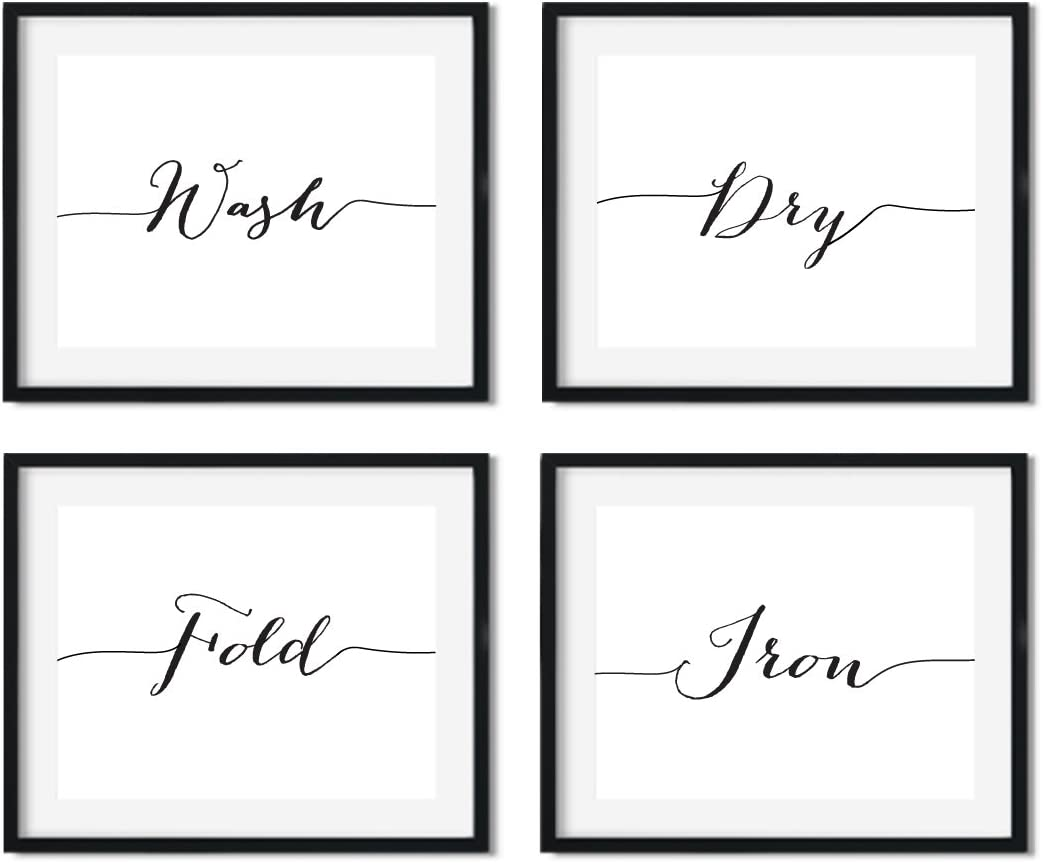 Andaz Press Modern Black and White Laundry Wall Art Decor Posters, 8.5x11-inch, Wash Dry Fold Iron, 4-Pack, Elegant Calligraphy Christmas Birthday Gift for Him Her, Unframed