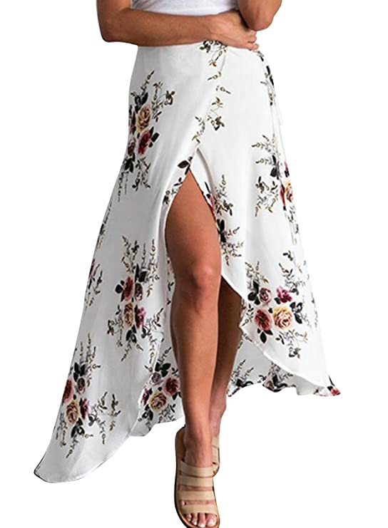 Oberora-Women Summer Bohemian Print Irregular Split Swing Maxi Skirt White M
