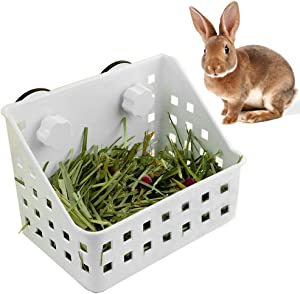 PINVNBY Hay Feeder Less Wasted Hay Rack Manger - Ideal for Rabbit,Chinchilla,Guinea Pig,Plastic Food Bowl Use for Grass & Food