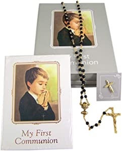 Boy's First Communion Gift Set with Prayer Book, Gold-Toned Rosary with Black Beads, and Lapel Pin