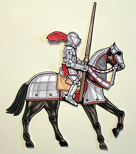 Armored Knight on Horse Paper Doll - Articulated Medieval Armor Art by Ardently Crafted