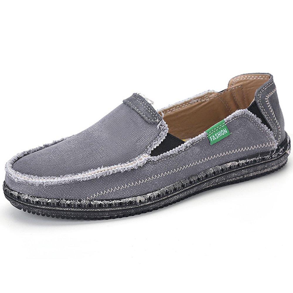 VILOCY Men's Slip on Deck Shoes Canvas Loafer Vintage Flat Boat Shoes Gray 48
