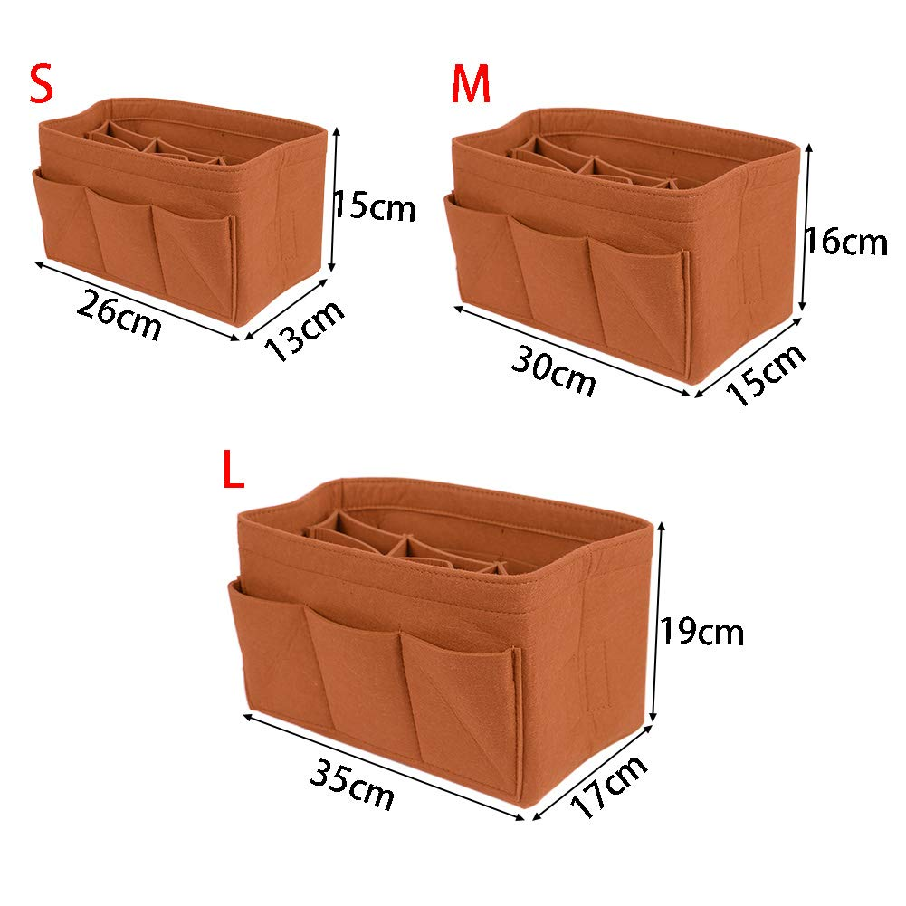 MOOUK Feutre Insert Organiseur de Sac Sac Multifonctionnel Feutre Sac /à Main Insert Organiseur Multi-Poches pour Home Desk Organiseur de Sac /à Main s, Gris fonc/é