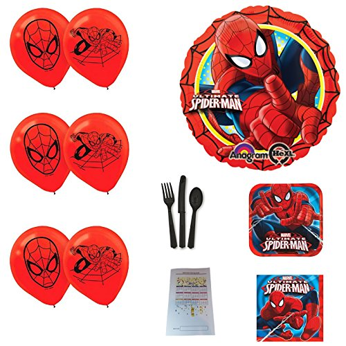 Spiderman Party Supplies and Balloons Bundle