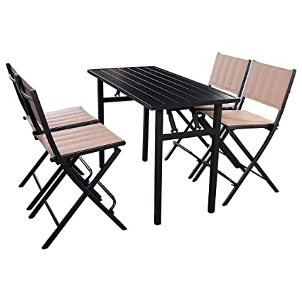 amazon com giantex 5 pcs patio outdoor folding chairs rect table