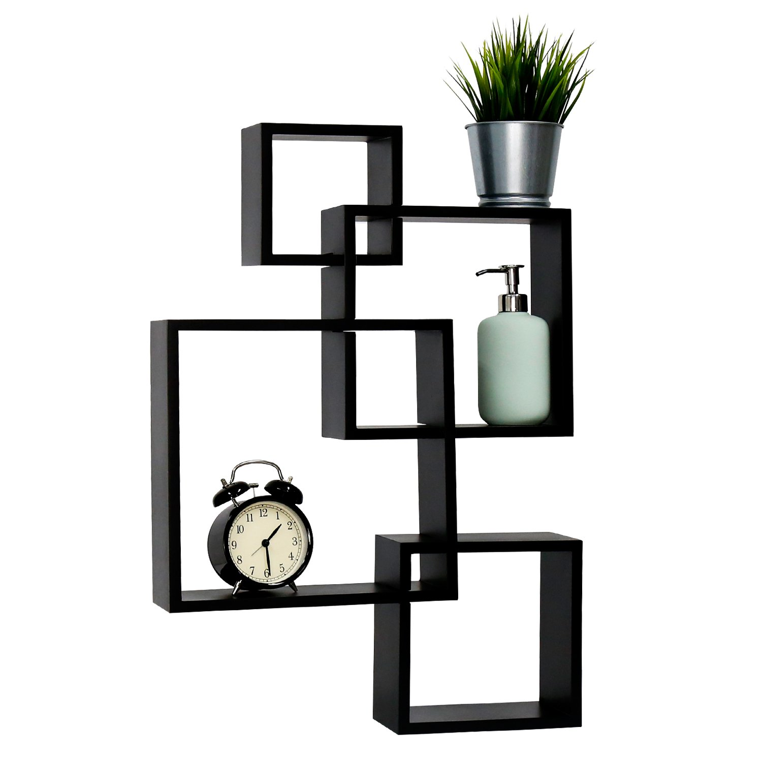 Peach Tree Intersecting Squares Black Floating Shelf Wall Mounted Home Decor Furniture