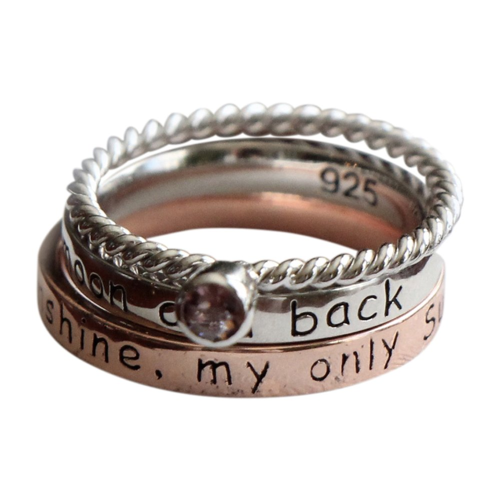 Moon and Back- You are My Sunshine- Birthstone Ring-- Three Rings Stacking Ring Set - Mother Daughter Jewelry Gift