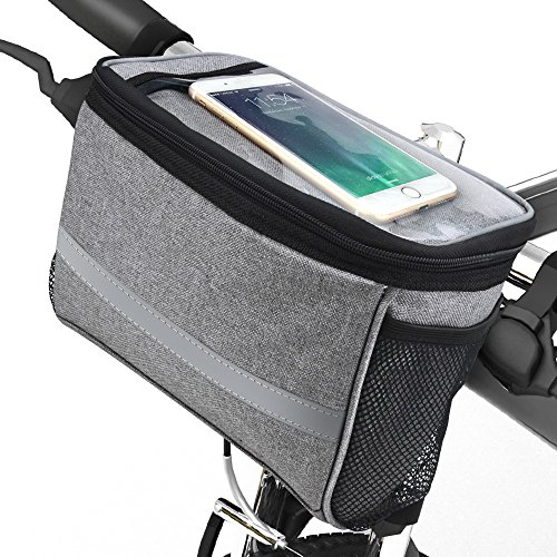 Bicycle BicycleStoreCycling Basket Handlebar Bag with Sliver Grey Reflective Stripe Outdoor Activity Pack Accessories Black 3.5L by Bicycle (Image #8)