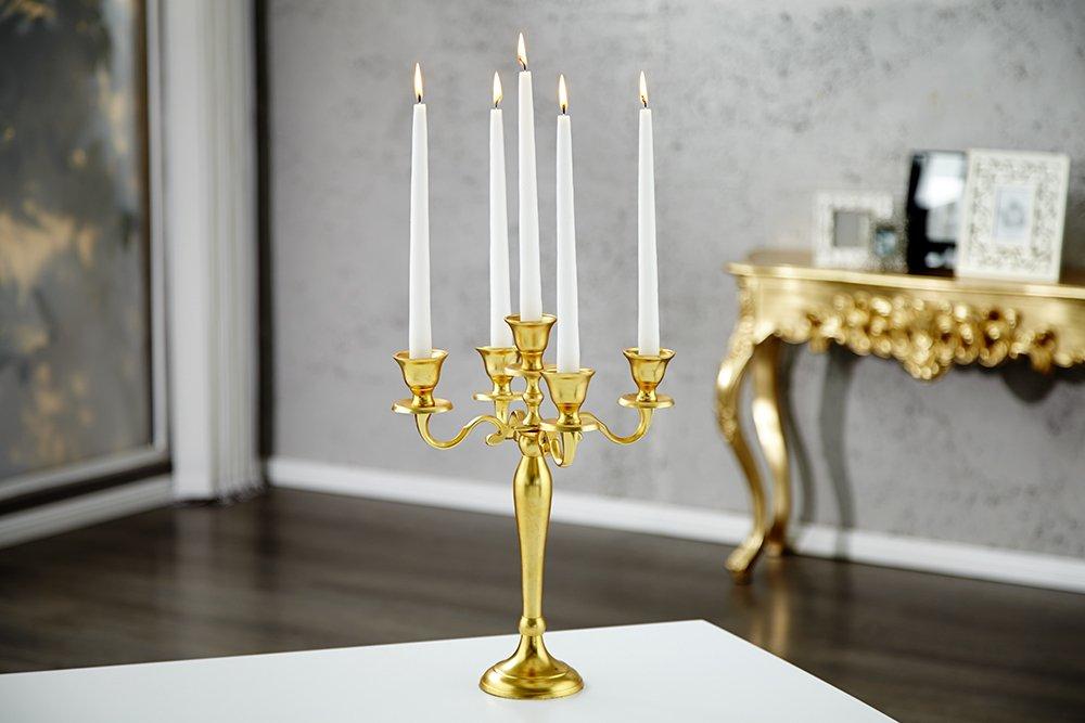 Design Barocco lampadario candelabro a 5 bracci 40 cm Oro Effetto candela titolare Riess Ambiente