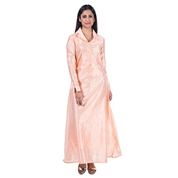 Mamosa Peach Silk Full Sleeve Long Gown gown for latest design ...