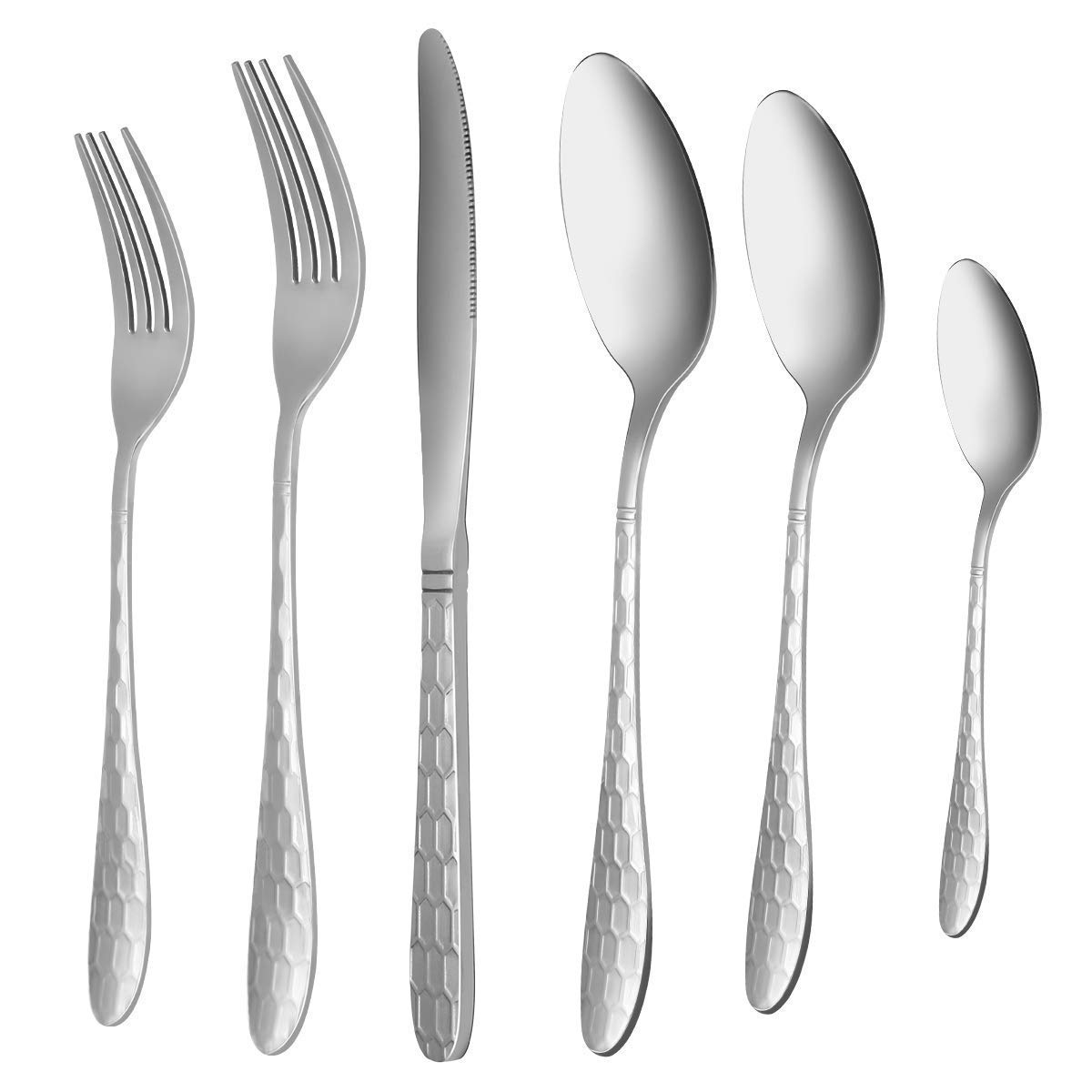 Silverware Flatware Cutlery Set, VERONES 24-Piece Stainless Steel Utensils Service for 4, Fit For Home Kitchen Hotel Restaurant Tableware Cutlery Set, Mirror Finished, Dishwasher Safe.