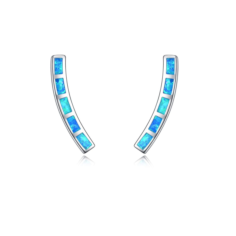 WINNICACA Ear Climber Earrings Sterling Silver October Birthstone Blue Opal Bar Stud Earrings Gifts for Women Girls Birthday by WINNICACA