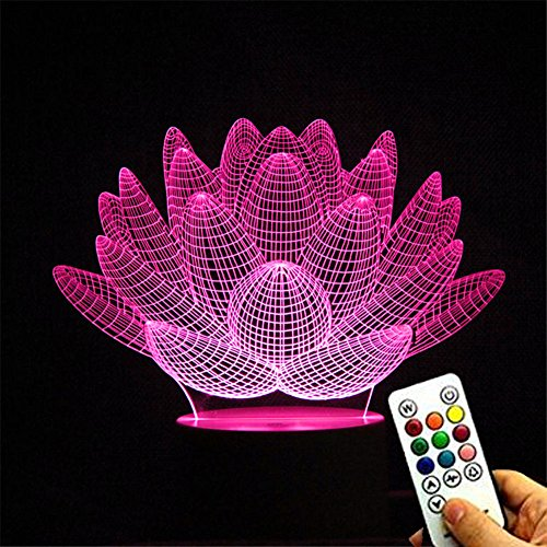 DeerBird Unique Succulent Plant Shape Lotus 3D Optical Illusion 7 Colors Changing Touch White Base Remote Control USB Desk Table Lamp Night Light with Keys Controler ()
